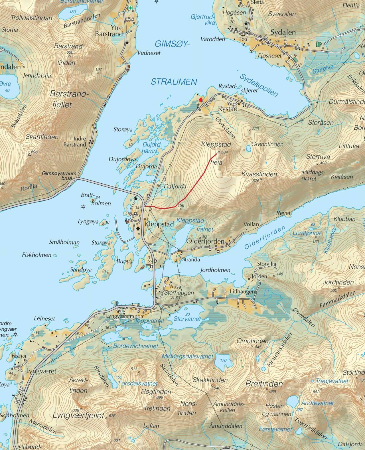 Kart over Kleppstadheia med inntegnet rute. Fra Trygge toppturer
