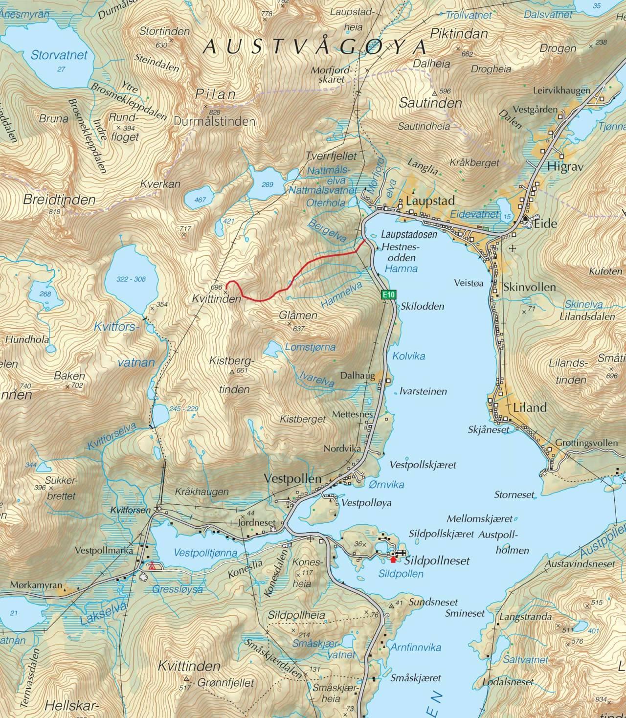 Kart over Kvittinden med inntegnet rute. Fra Trygge toppturer.