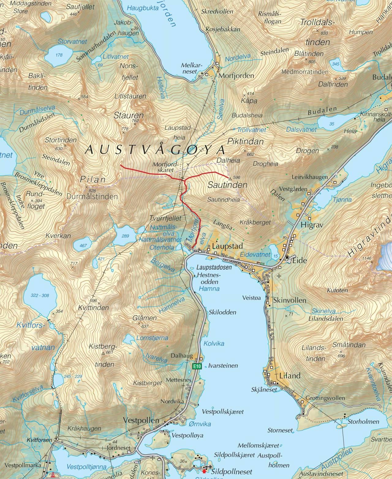 Kart over Pilan og Sautinden med inntegnet rute. Fra Trygge toppturer.