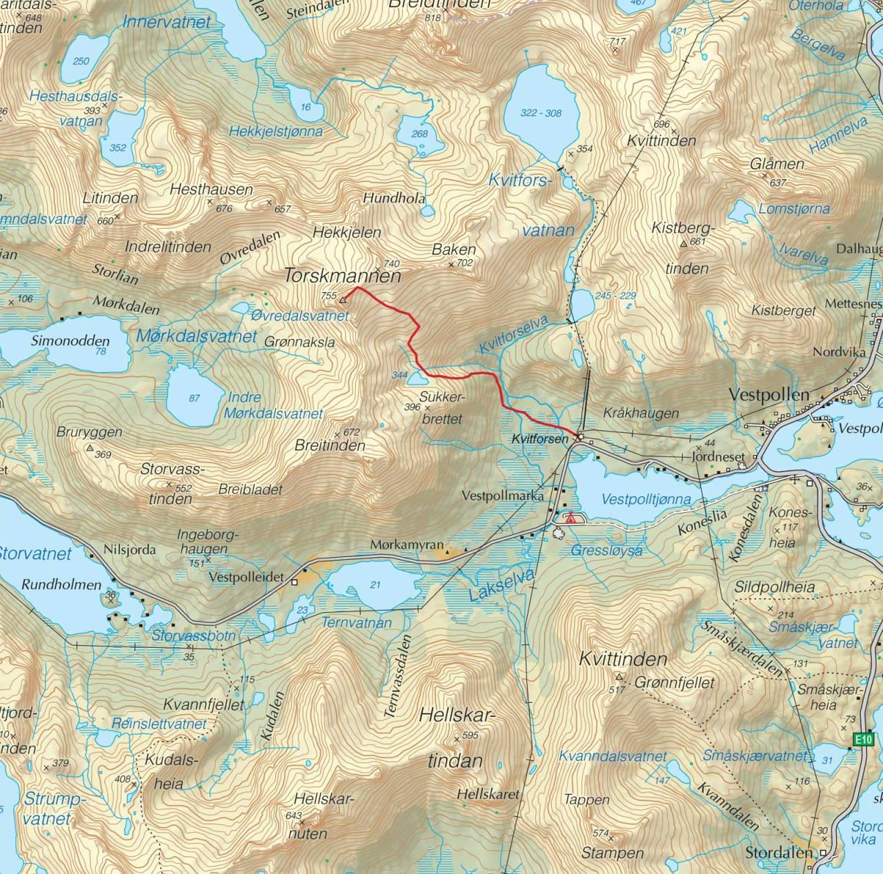 Kart over Torskmannen med inntegnet rute. Fra Tryggetoppturer
