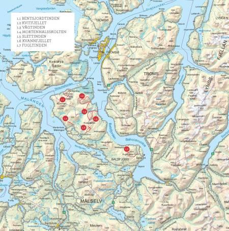 Oversiktskart over Malangen. Fra Toppturer i Troms.