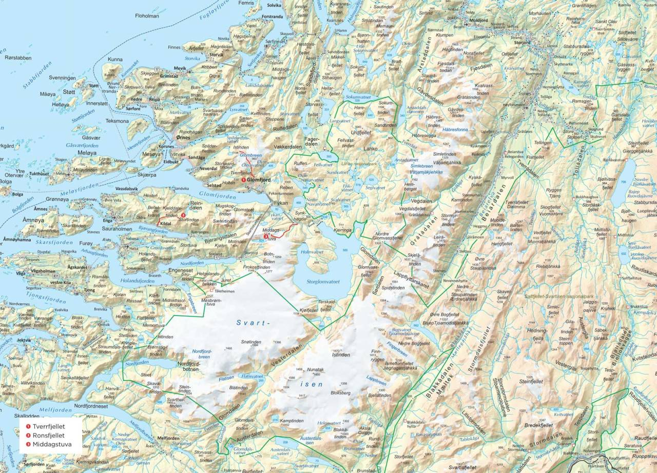 Oversiktskart over Meløy. Fra Trygge toppturer.