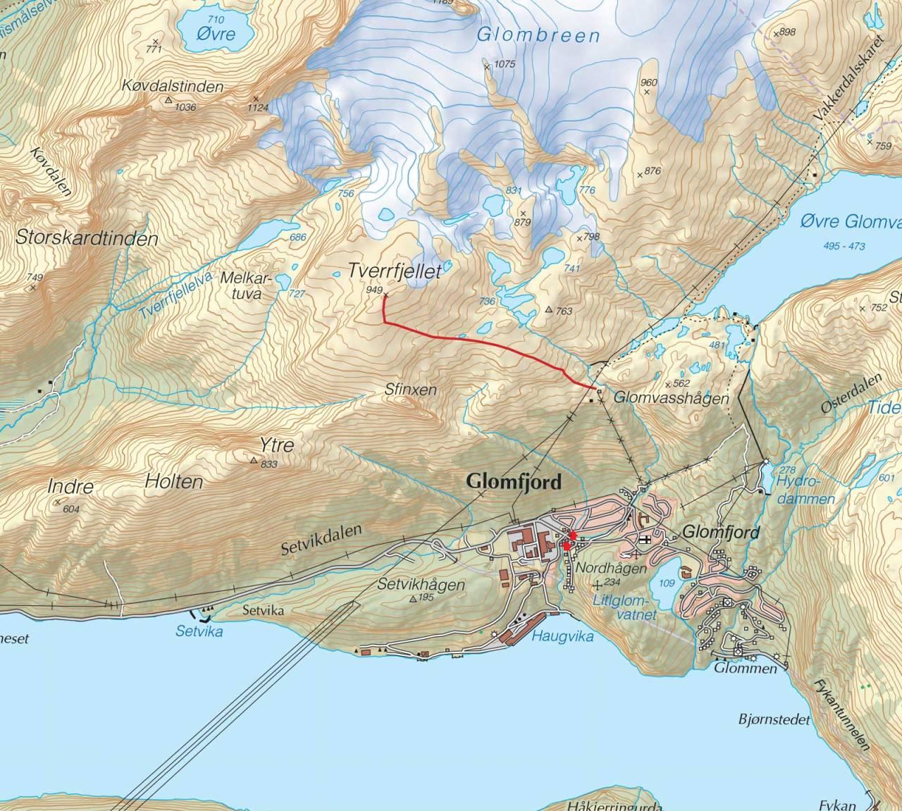 Kart over Tverrfjellet med inntegnet rute. Fra Trygge toppturer.