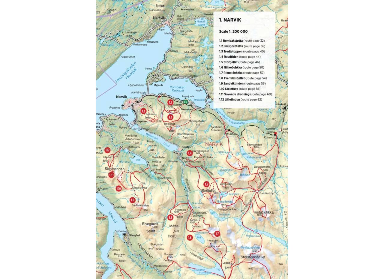 Oversiktskart over Narvik. Fra Toppturer rundt Narvik
