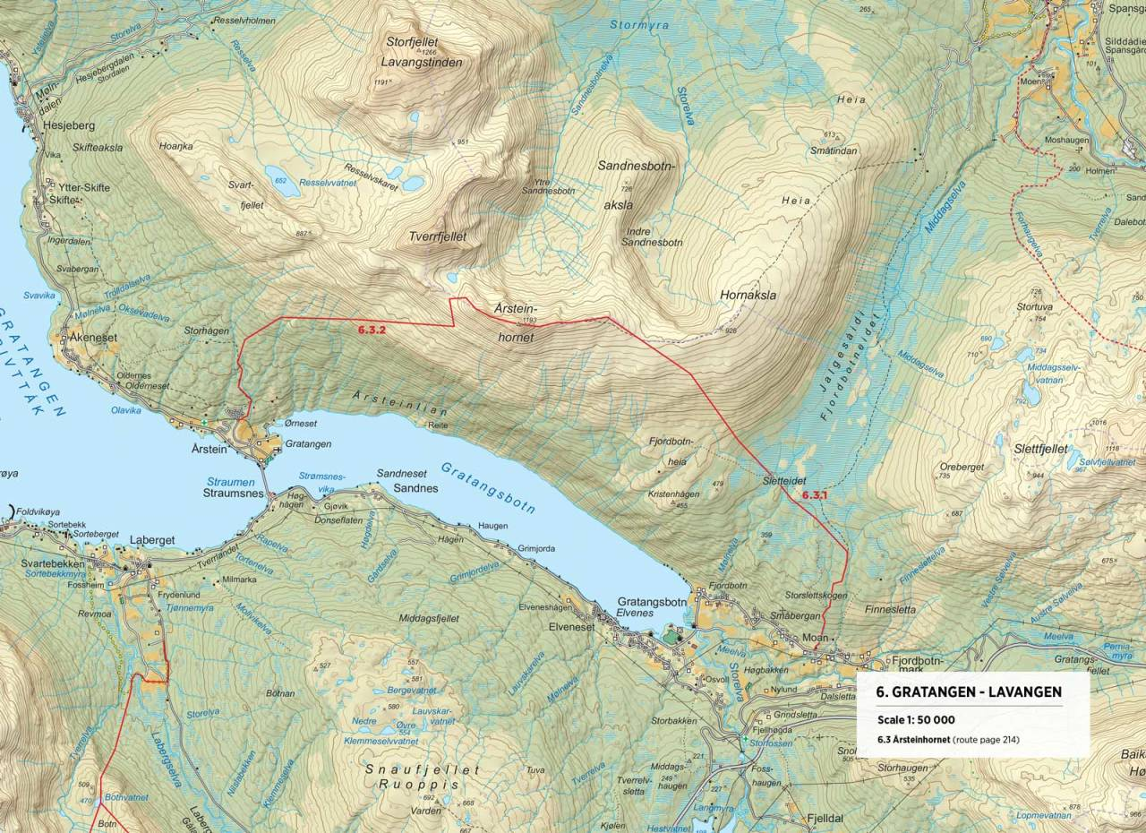 Kart over Årsteinhornet med inntegnet rute. Fra Toppturer rundt Narvik.