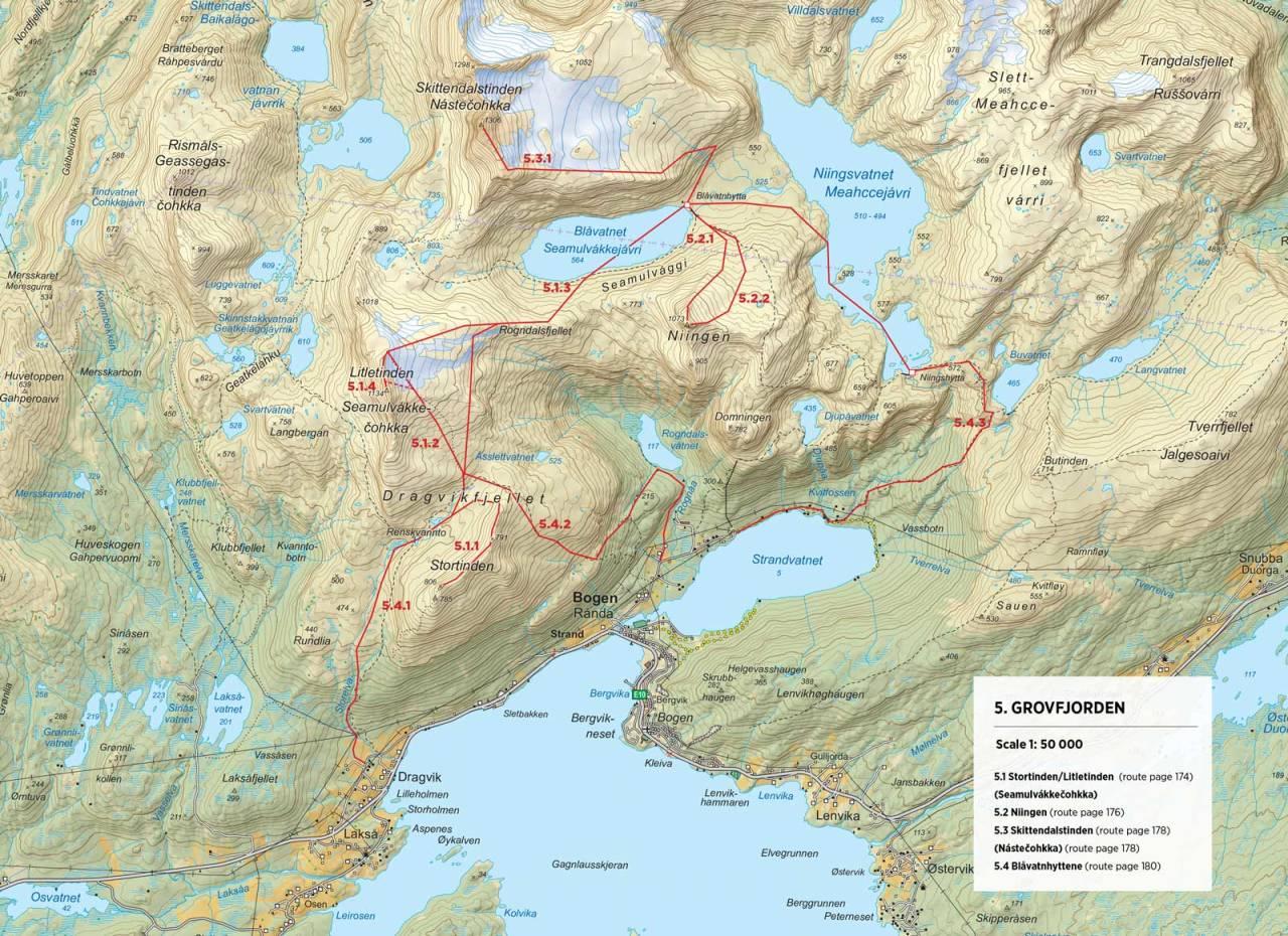 Kart over Blåvatnhyttene med inntegnet rute. Fra Toppturer rundt Narvik.