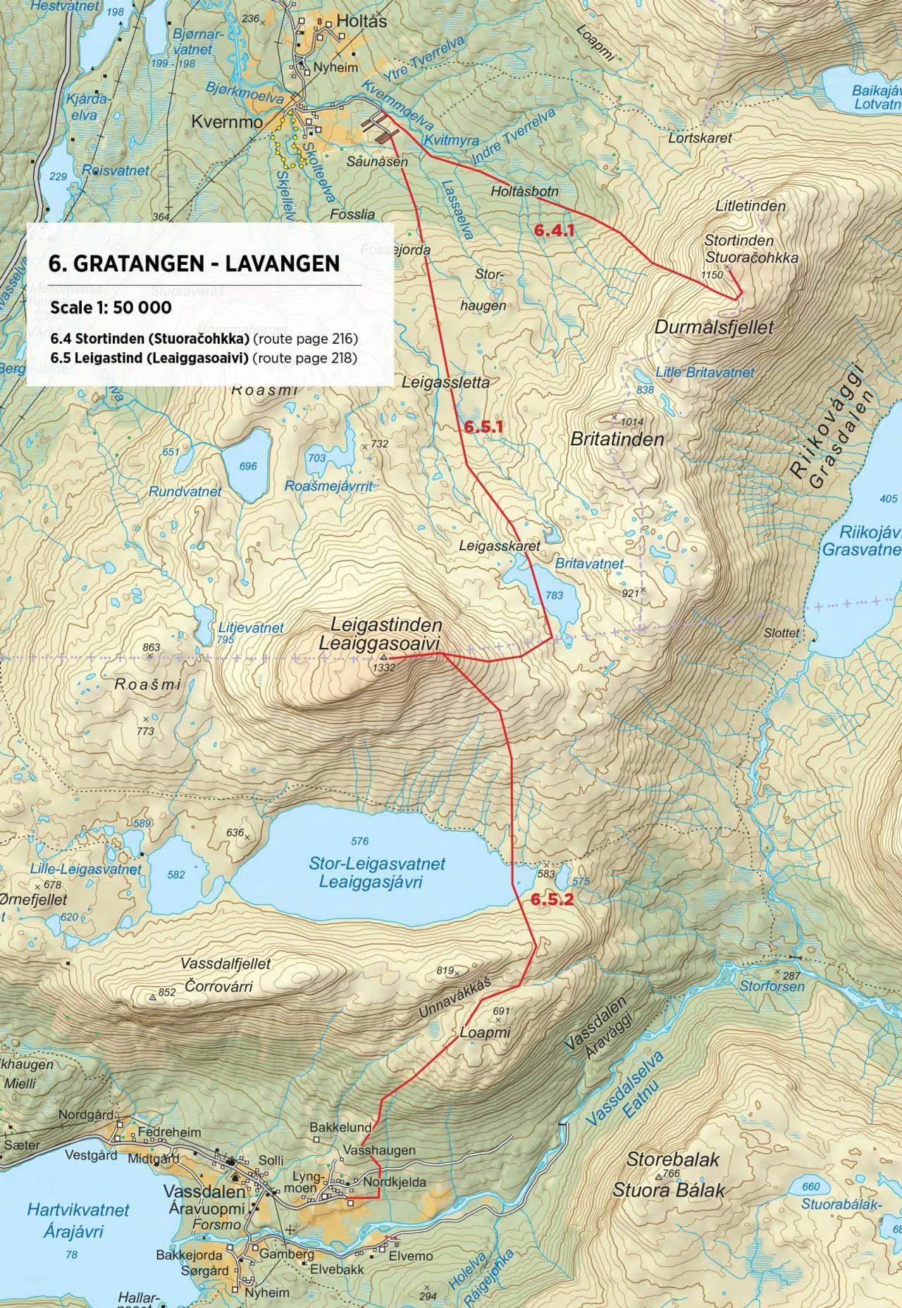 Kart over Læigastind med inntegnet rute. Fra Toppturer rundt Narvik.