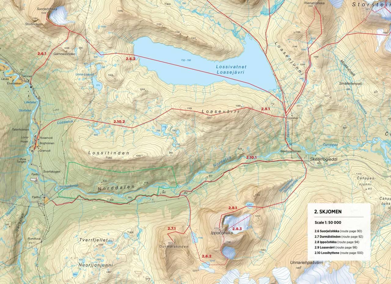 Oversiktskart over Lossihyttene med inntegnet rute. Fra Toppturer rundt Narvik.
