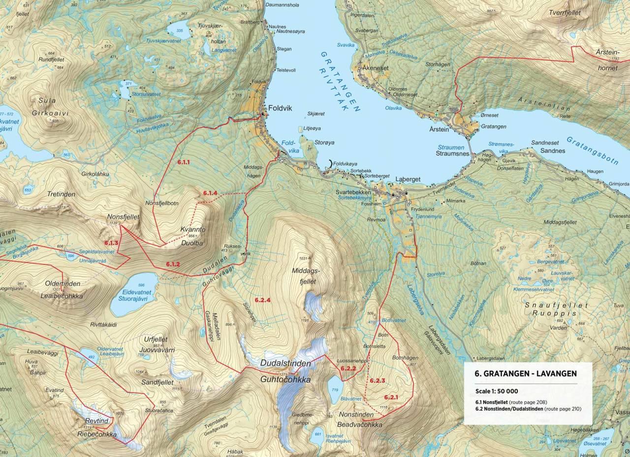 Kart over Nonsfjellet med inntegnet rute. Fra Toppturer rundt Narvik.