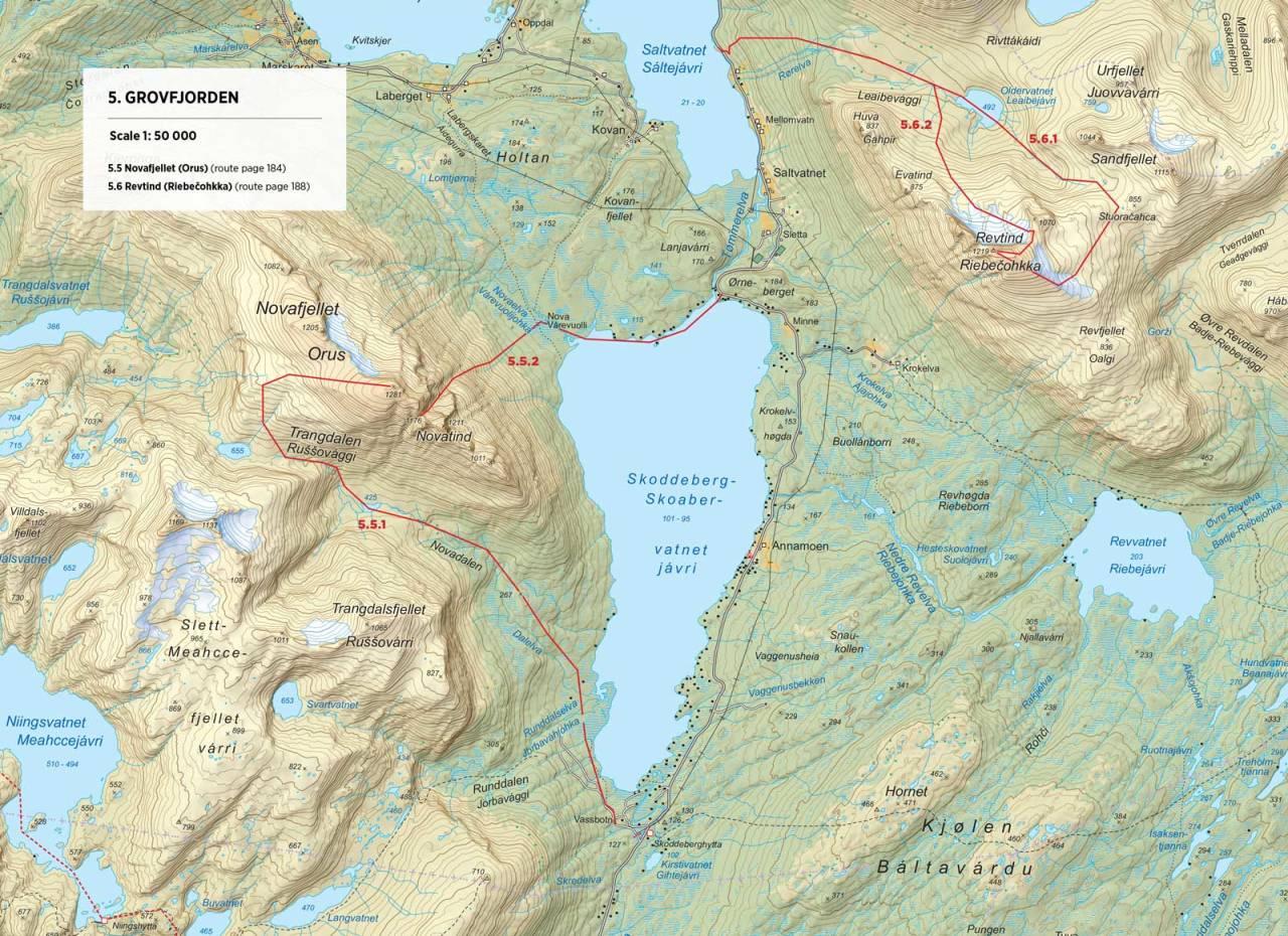 Kart over Novafjellet med inntegnet rute. Fra Toppturer rundt Narvik.
