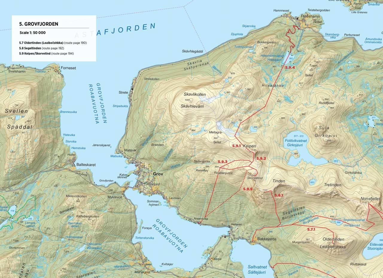 Kart over Oldertinden med inntegnet rute. Fra Toppturer rundt Narvik.