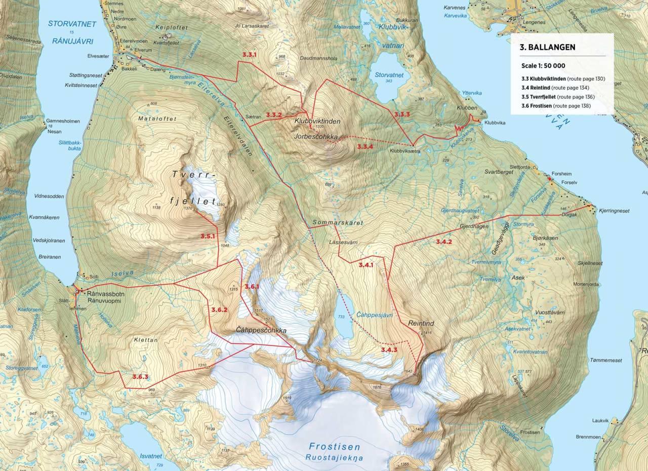 Kart over Reintind med inntegnet rute. Fra Toppturer rundt Narvik.