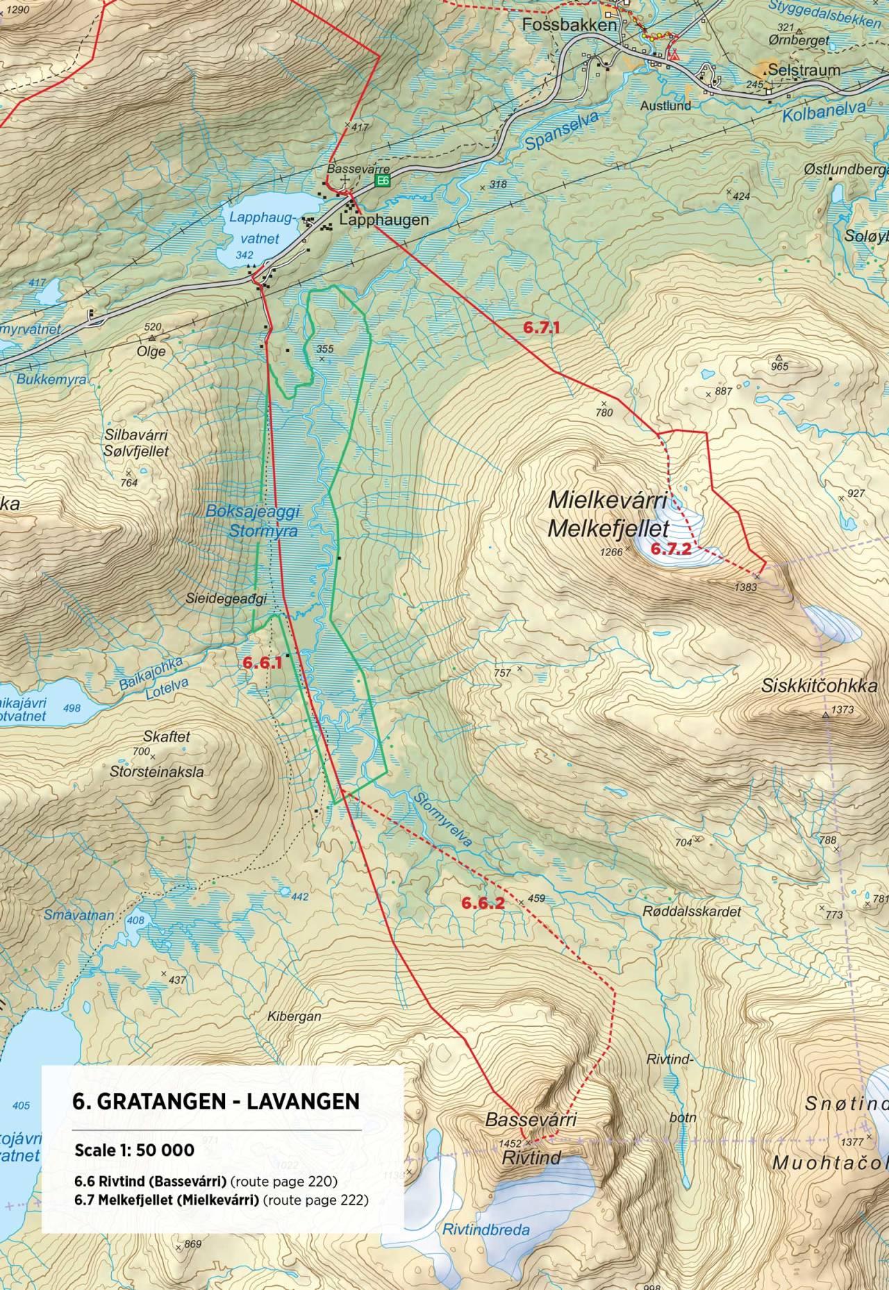 Kart over Rivtind med inntegnet rute. Fra Toppturer rundt Narvik.