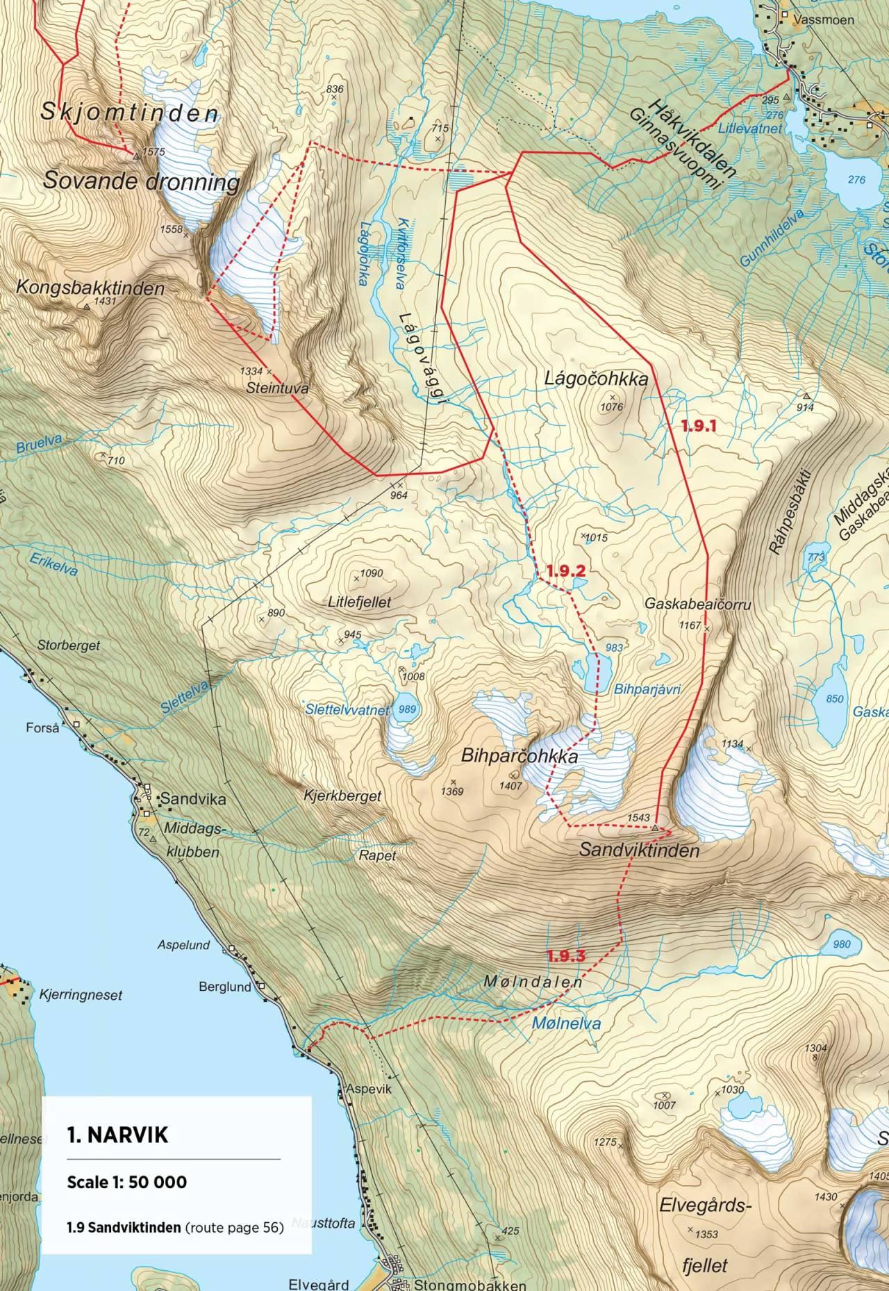 Kart over Sandviktinden med inntegnet rute. Fra Toppturer rundt Narvik.