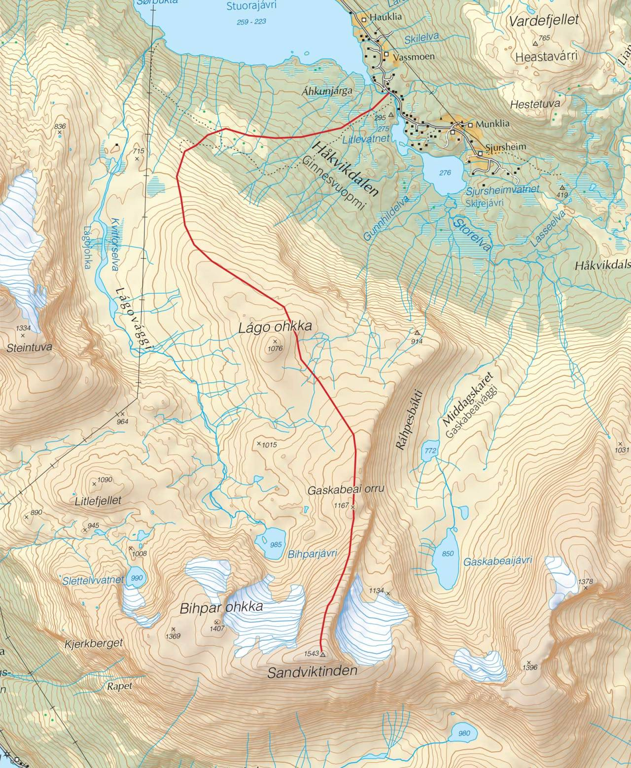 Kart over Sandviktinden med inntegnet rute. Fra Trygge toppturer.