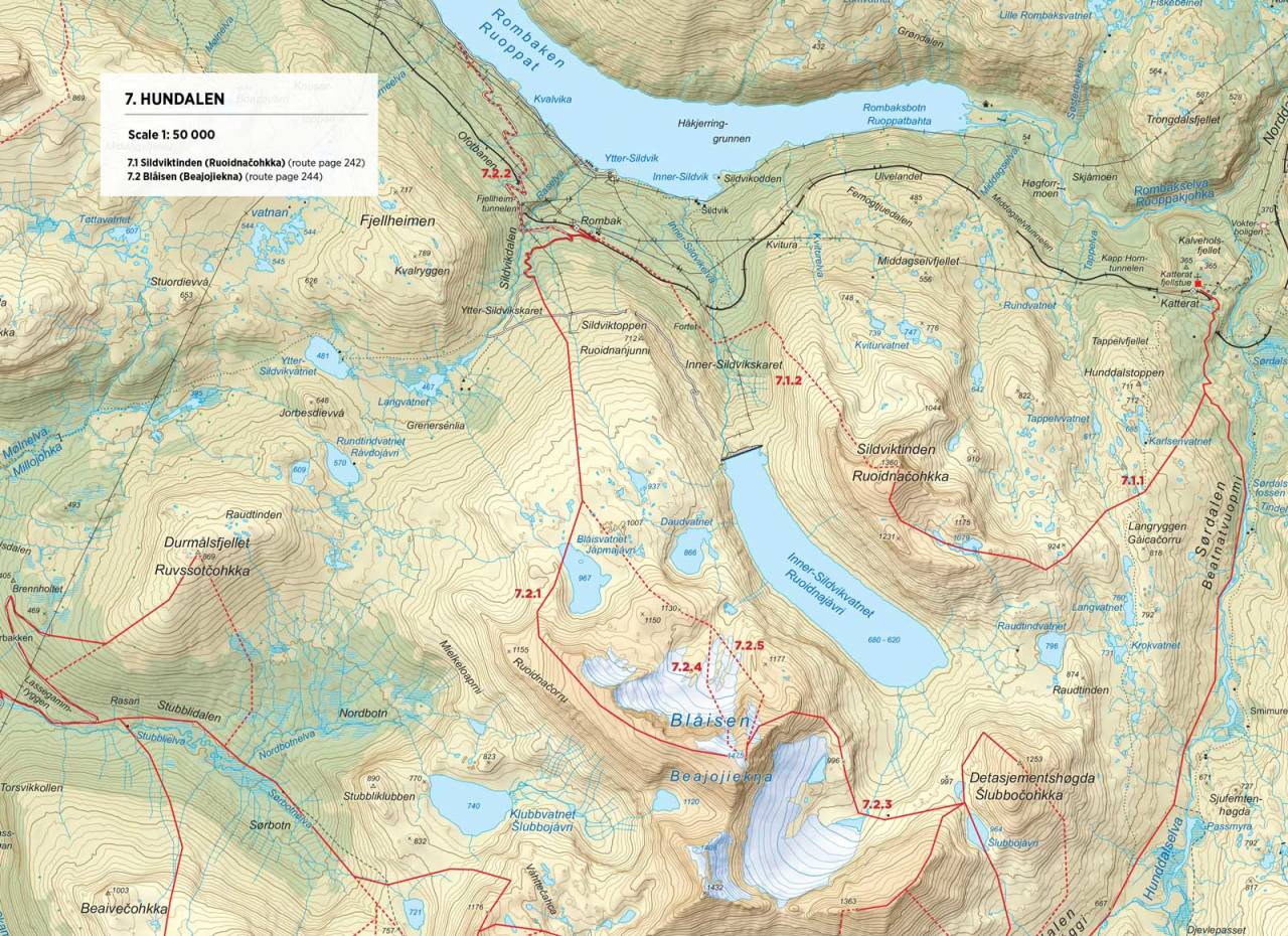 Kart over Sildviktinden med inntegnet rute. Fra Toppturer i Narvik.