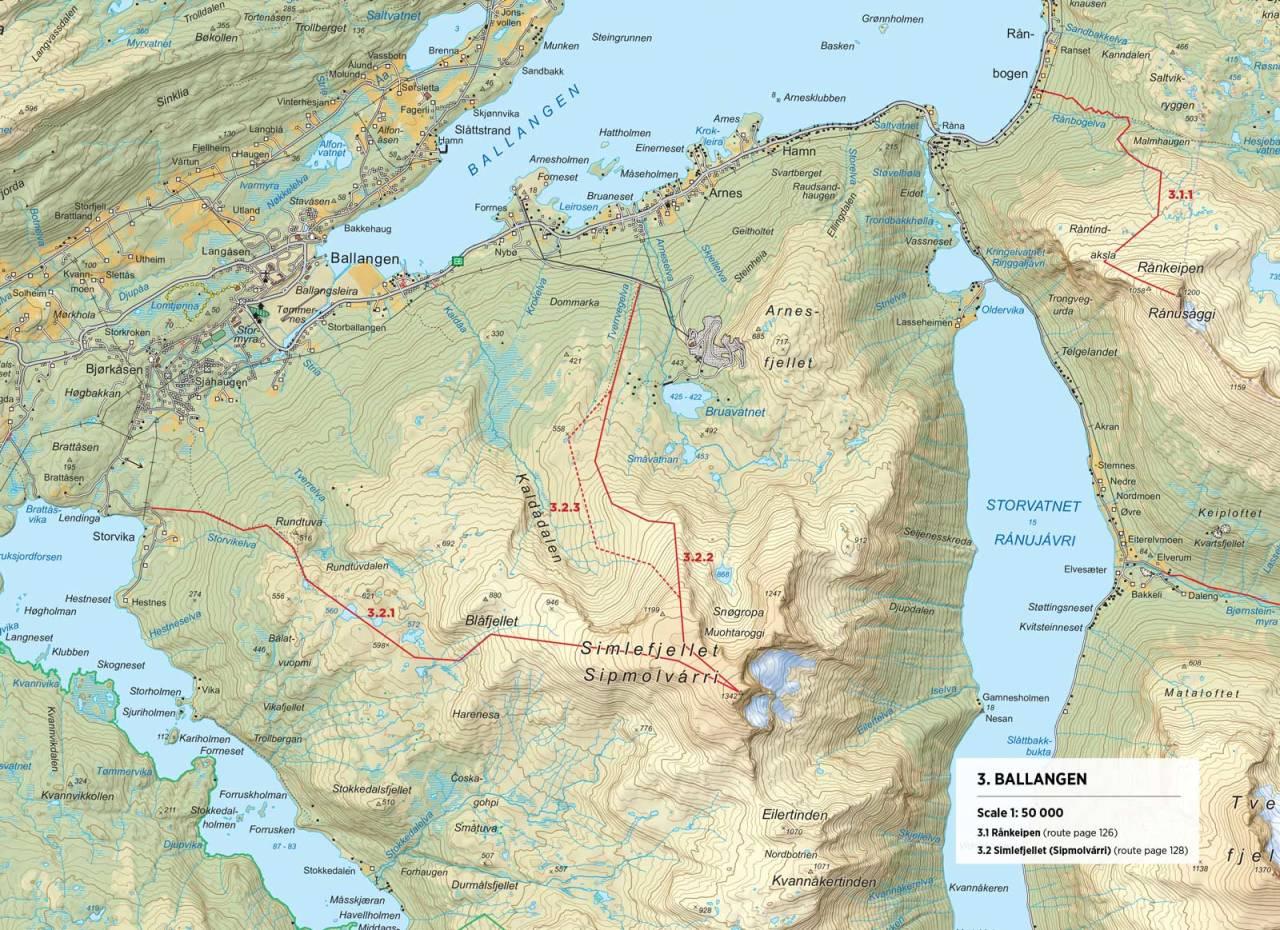 Kart over Simlefjellet med inntegnet rute. Fra Toppturer rundt Narvik.