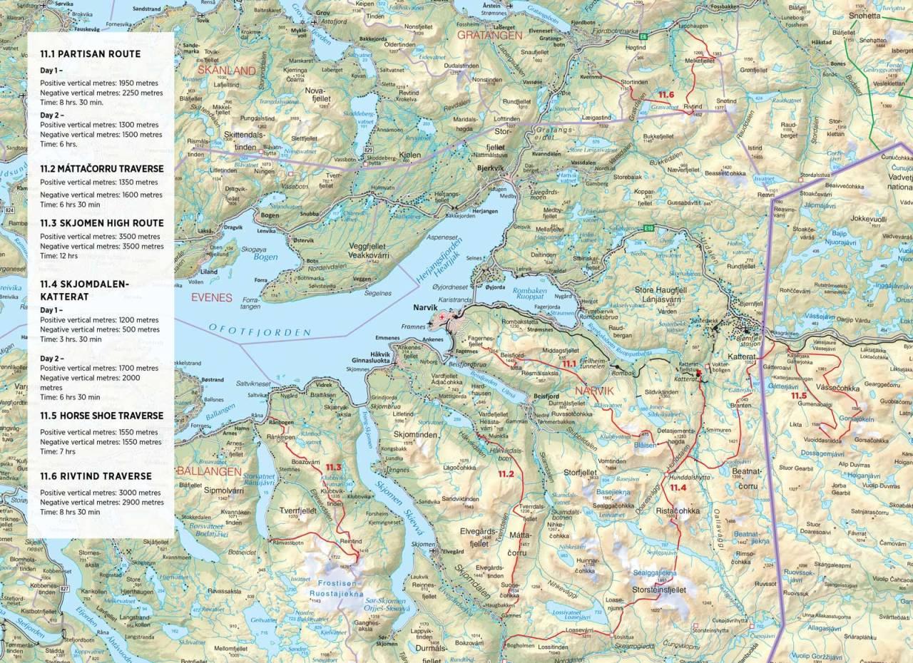 Kart over Skjomens høye vei med innetegnet rute. Fra Toppturer rundt Narvik.