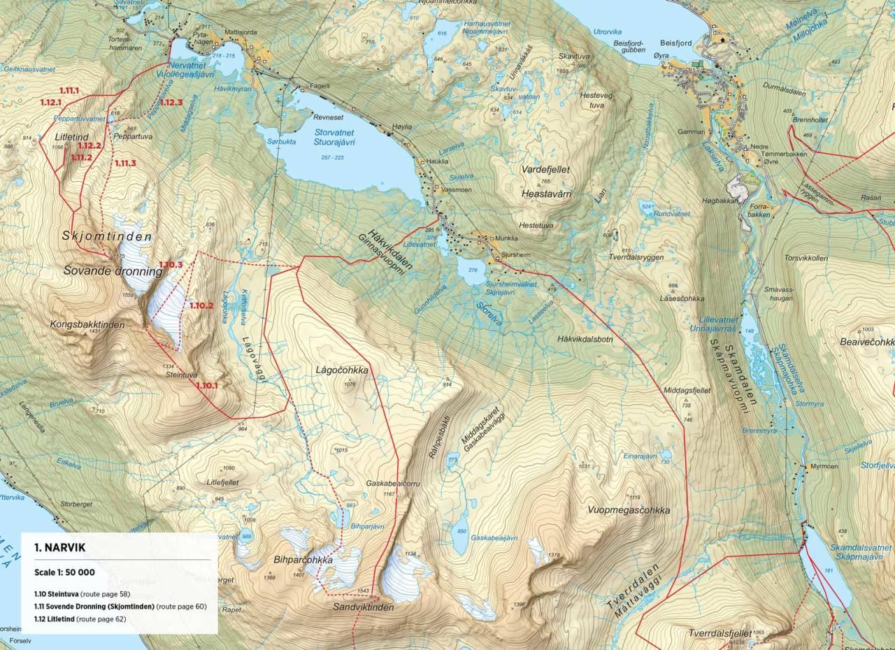 Kart over Sovende Dronning med inntegnet rute. Fra Toppturer rundt Narvik.