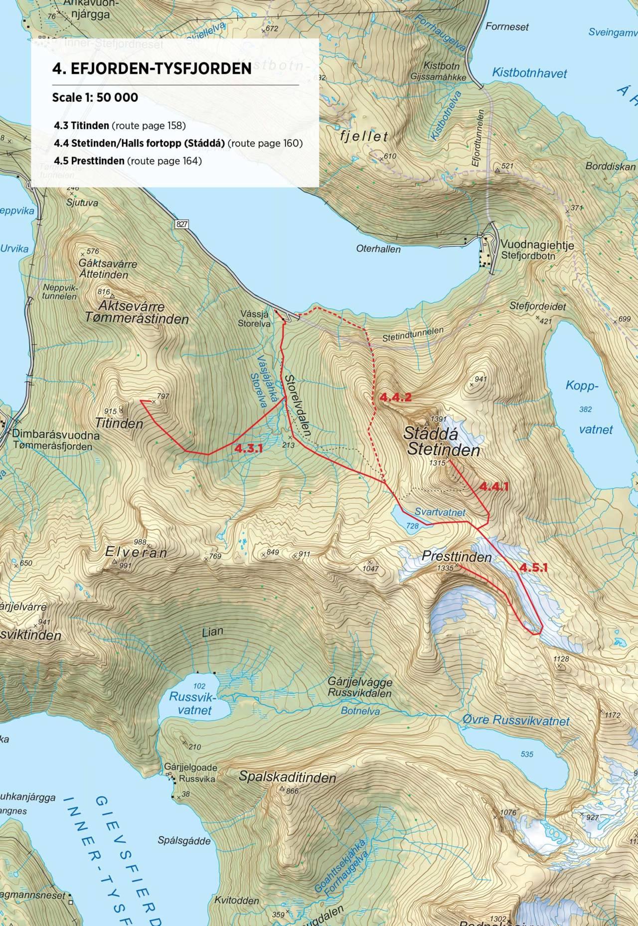 Kart over Titinden med inntegnet rute. Fra Toppturer rundt Narvik.
