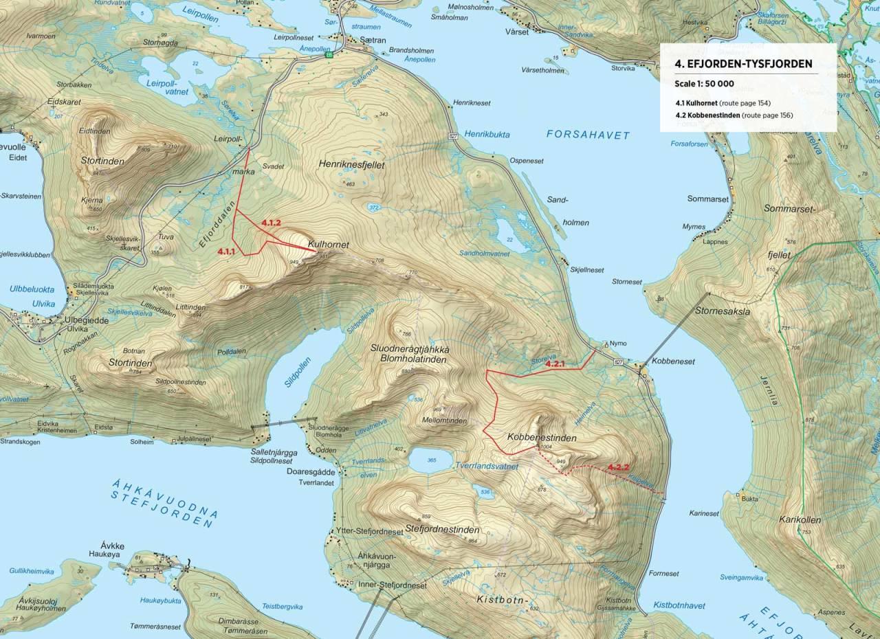 Kart over Efjorden og Tysfjorden med inntegnet rute. Fra Toppturer rundt Narvik.