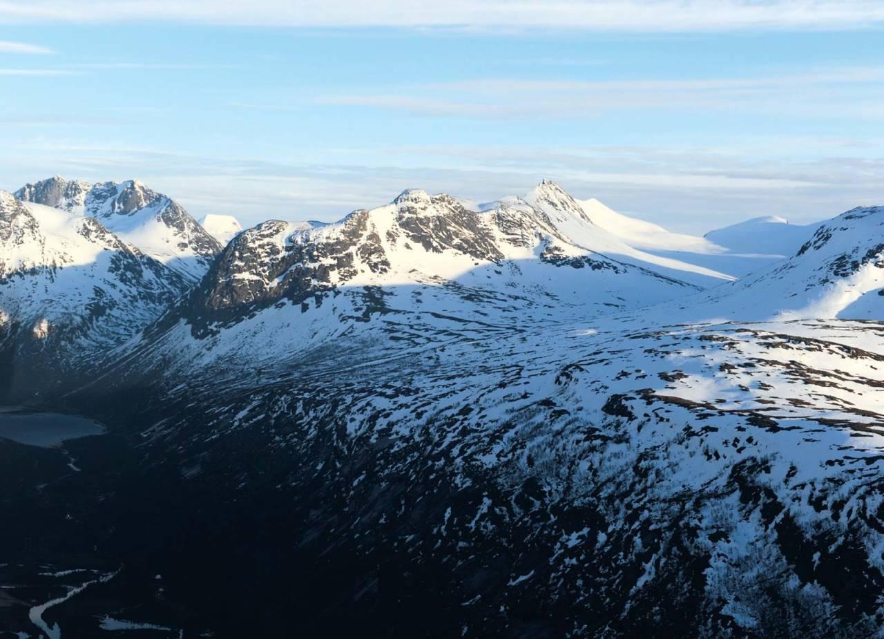 Tverrdalsfjellet fra nord. Foto: Rune Dahl / Toppturer rundt Narvik