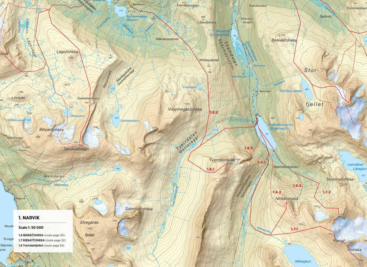 Kart over Tverrdalsfjellet med inntegnet rute. Fra Toppturer rundt Narvik