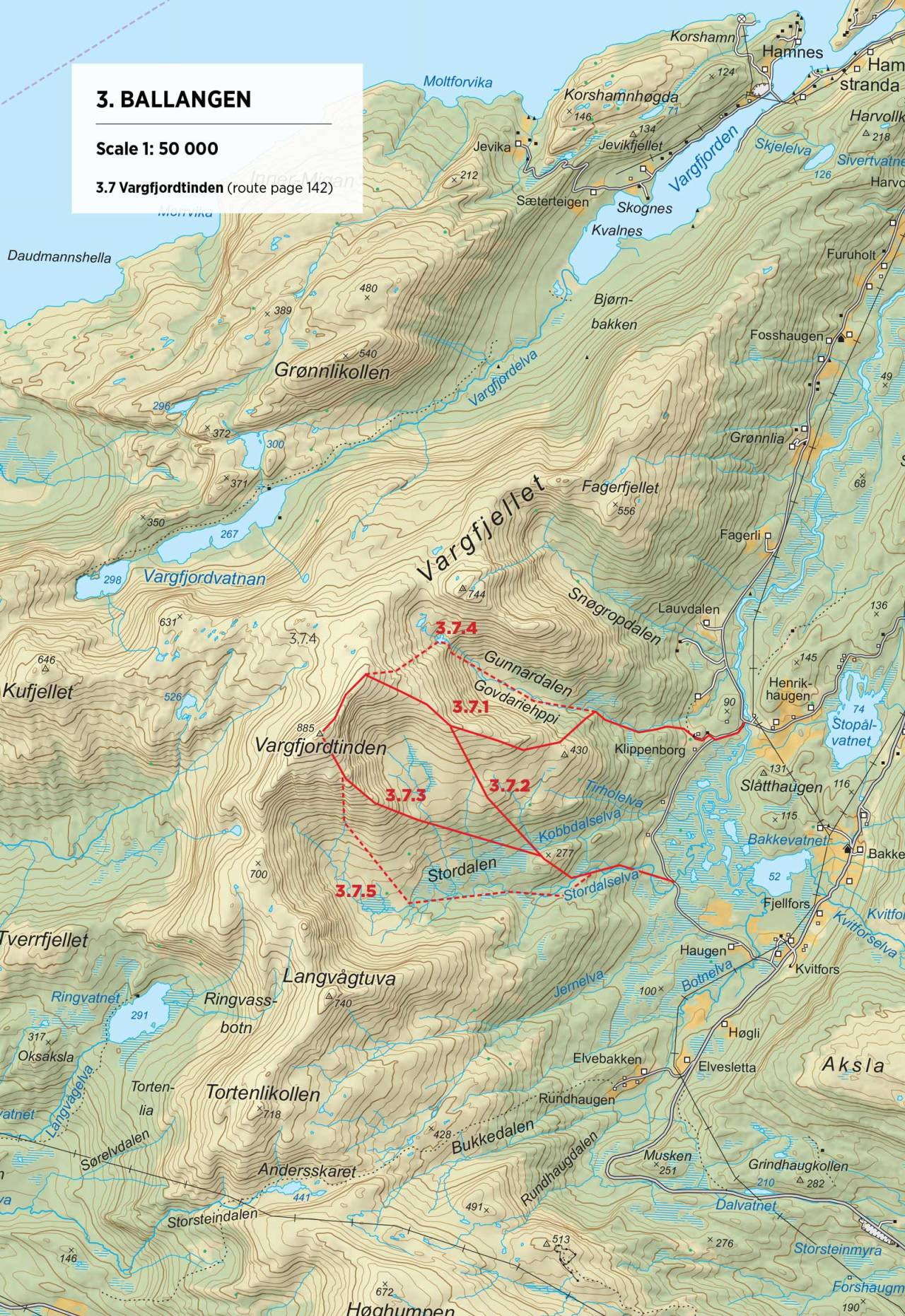 Kart over Vargfjordtinden med inntegnet rute. Fra Toppturer rundt Narvik.