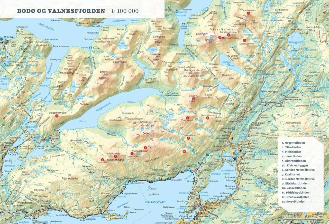 Oversiktskart over Bodø og Valnesfjorden. / Toppturer rundt Bodø.