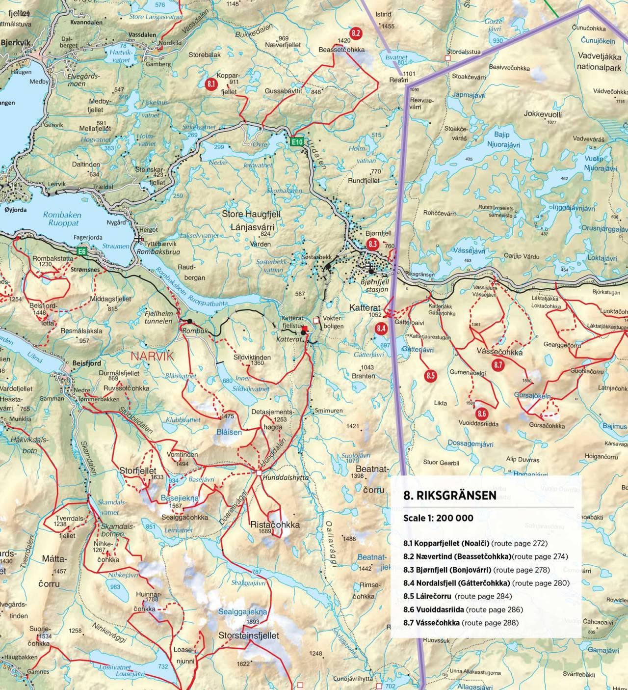Oversiktskart over Riksgränsen. Fra Toppturer rundt Narvik.