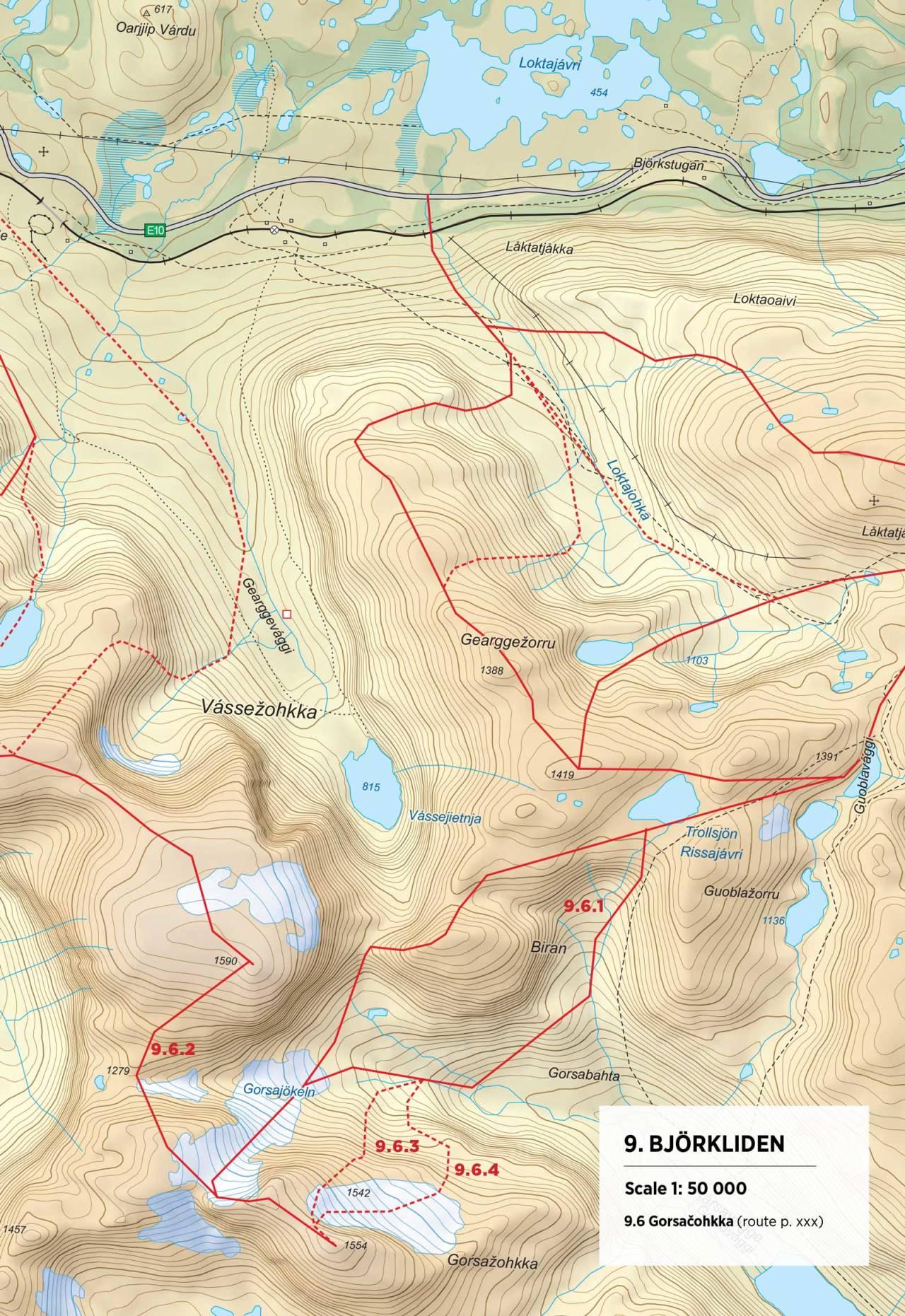 Kart over Gorsačohkka med inntegnet rute. Fra Toppturer rundt Narvik.