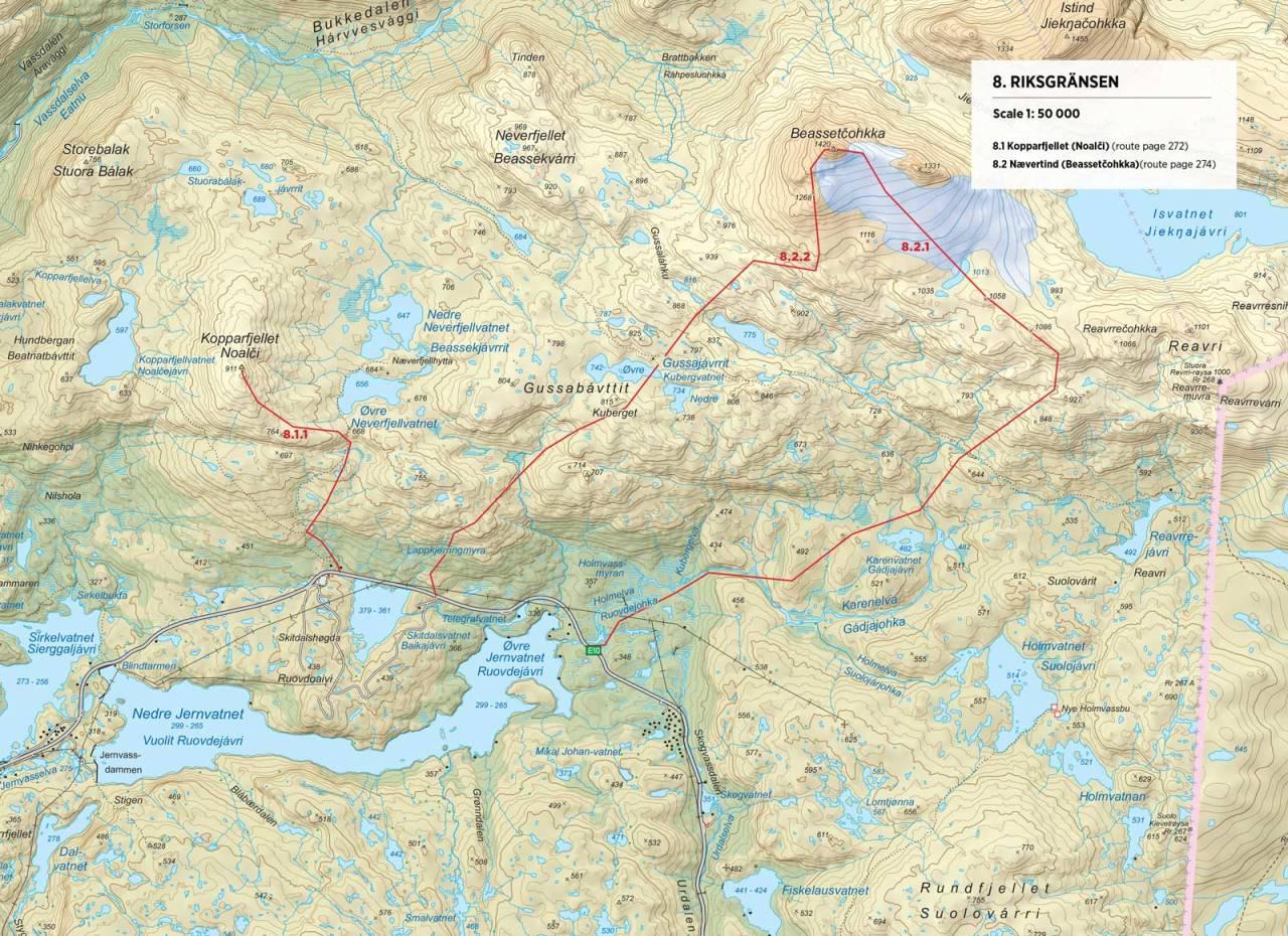 Kart over Kopparfjellet med inntegnet rute. Fra Toppturer rundt Narvik.