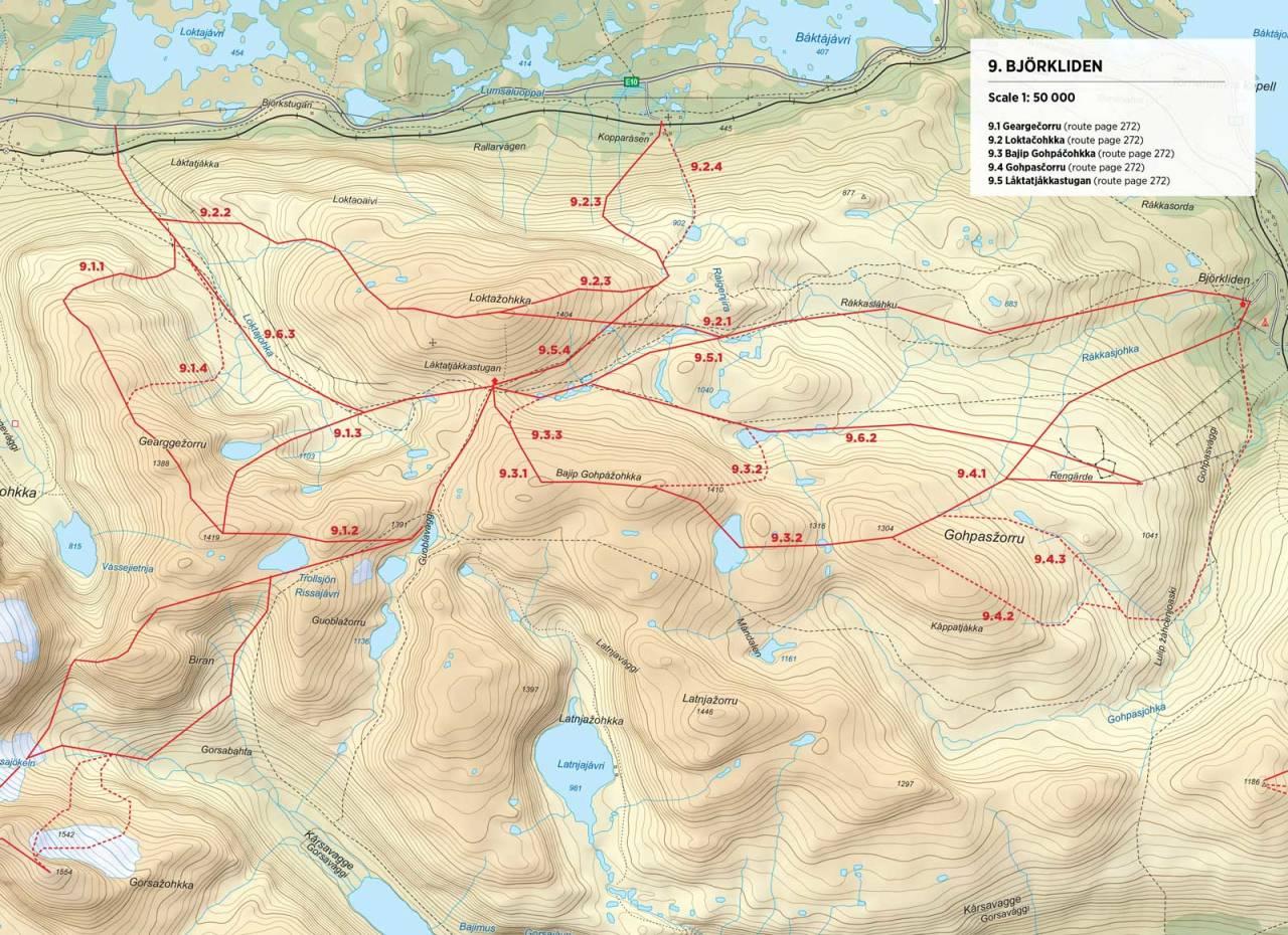 Kart over Låktatjåkkahytta med inntegnet rute. Fra Toppturer rundt Narvik.