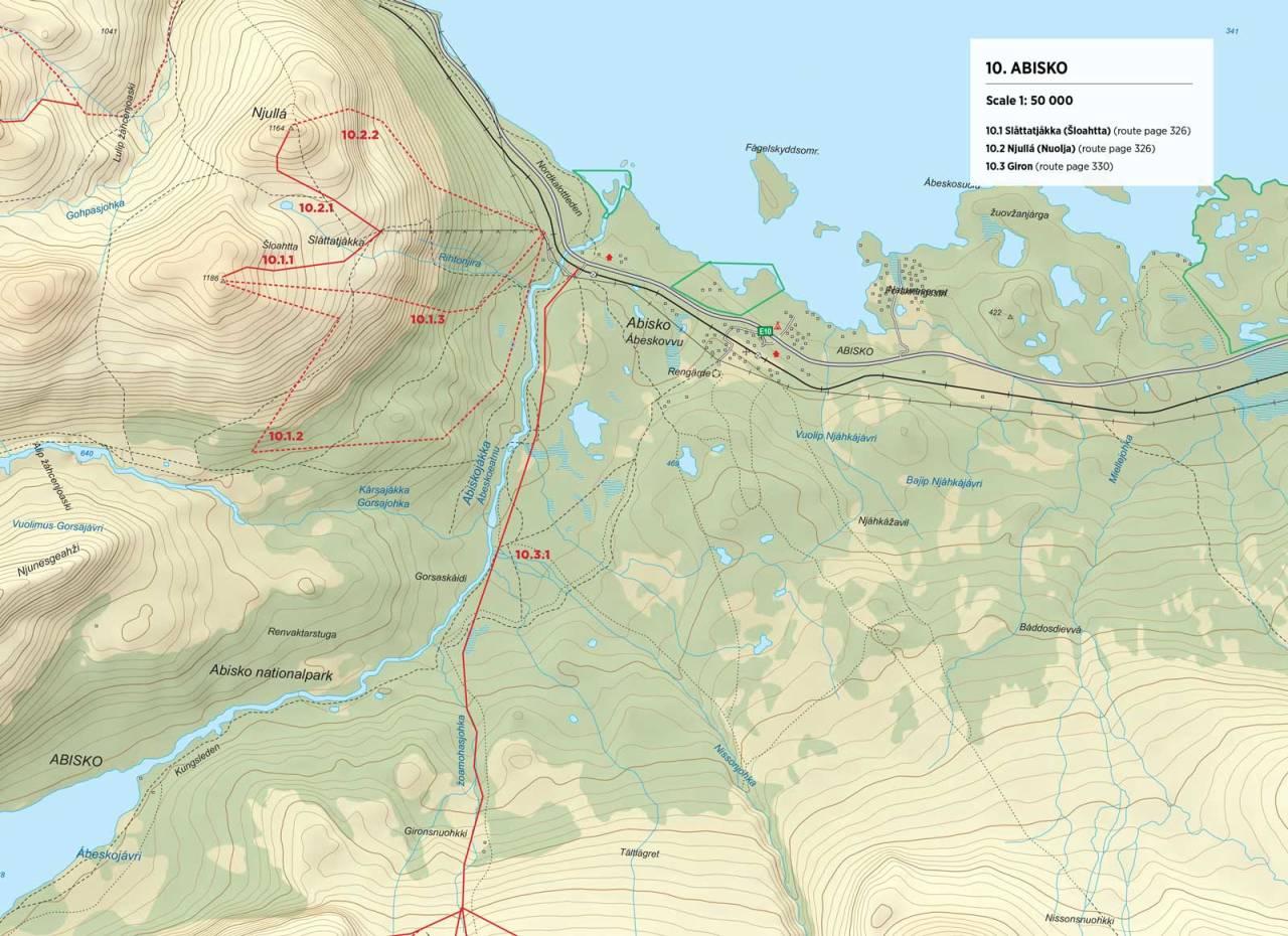 Kart over Slåttatjåkka og Njullá med inntegnet rute. Fra Toppturer rundt Narvik.