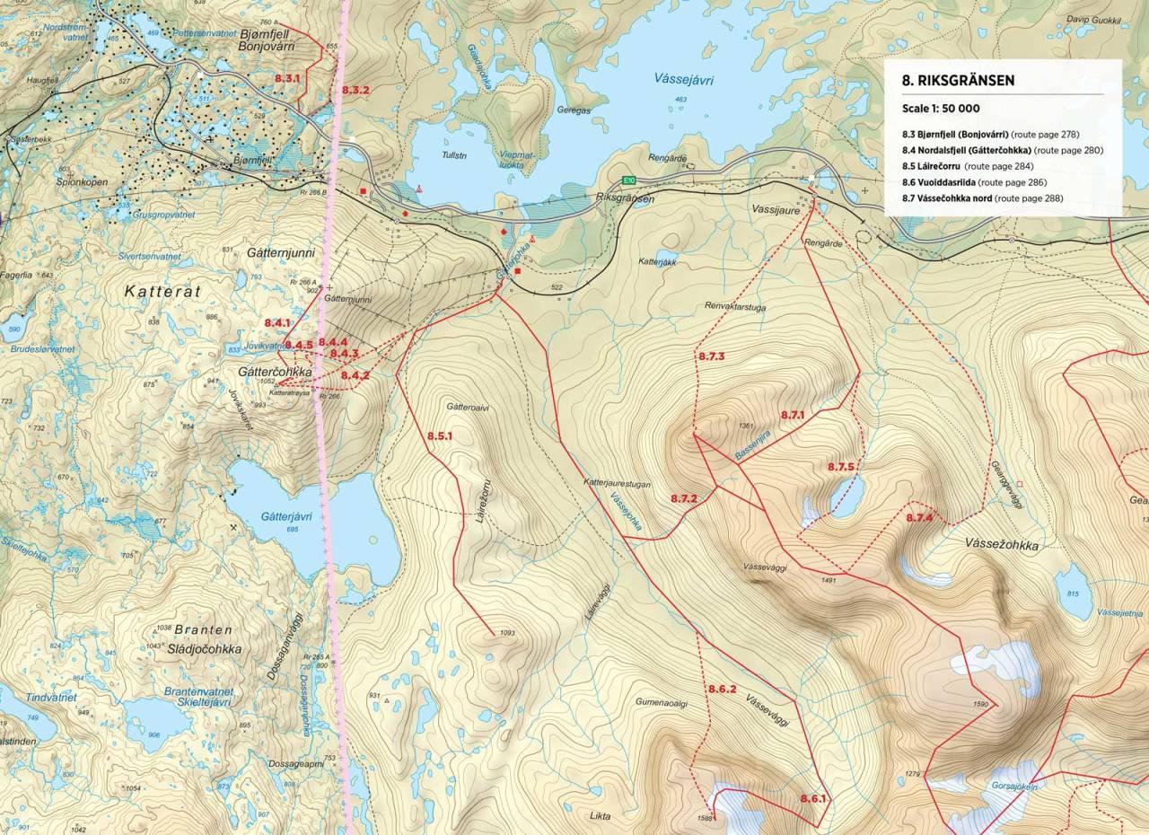Kart over Vassečohkka med inntegnet rute. Fra Toppturer rundt Narvik.