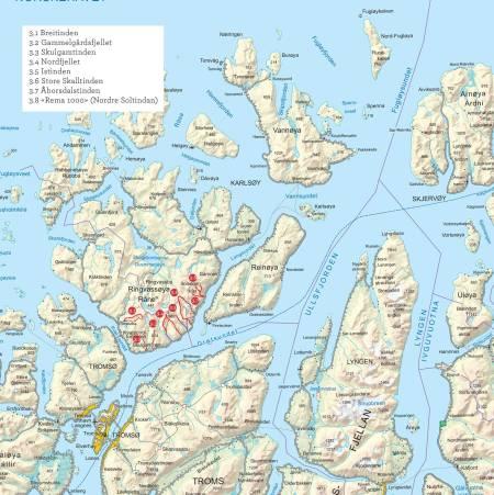 Oversiktskart over Ringvassøya. Fra Toppturer i Troms.