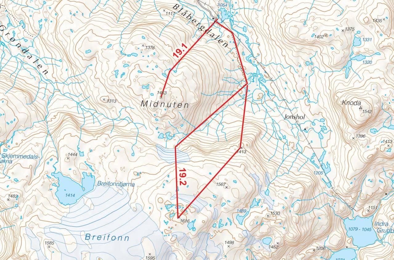 Kart over Breifonn og Midnuten med inntegnet rute. Fra Toppturer i Sørvest.