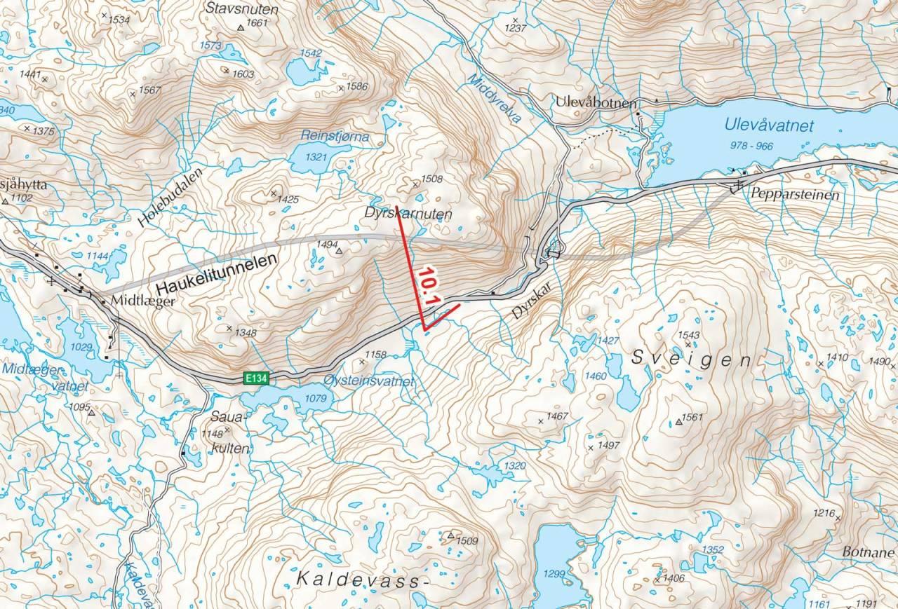 Kart over Dyrskardsnuten med inntegnet rute. Fra Toppturer i Sørvest.