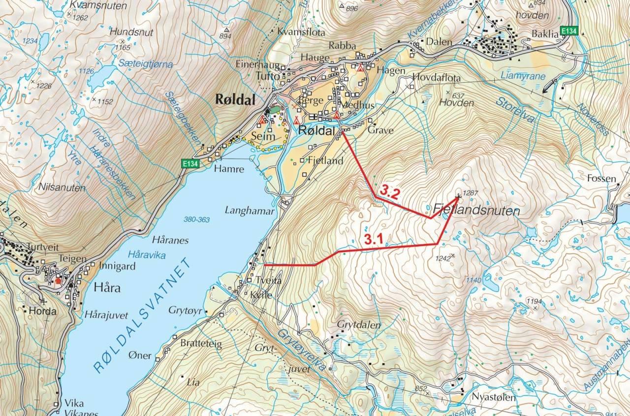 Kart over Fjetlandsnuten med inntegnet rute. Fra Toppturer i Sørvest.