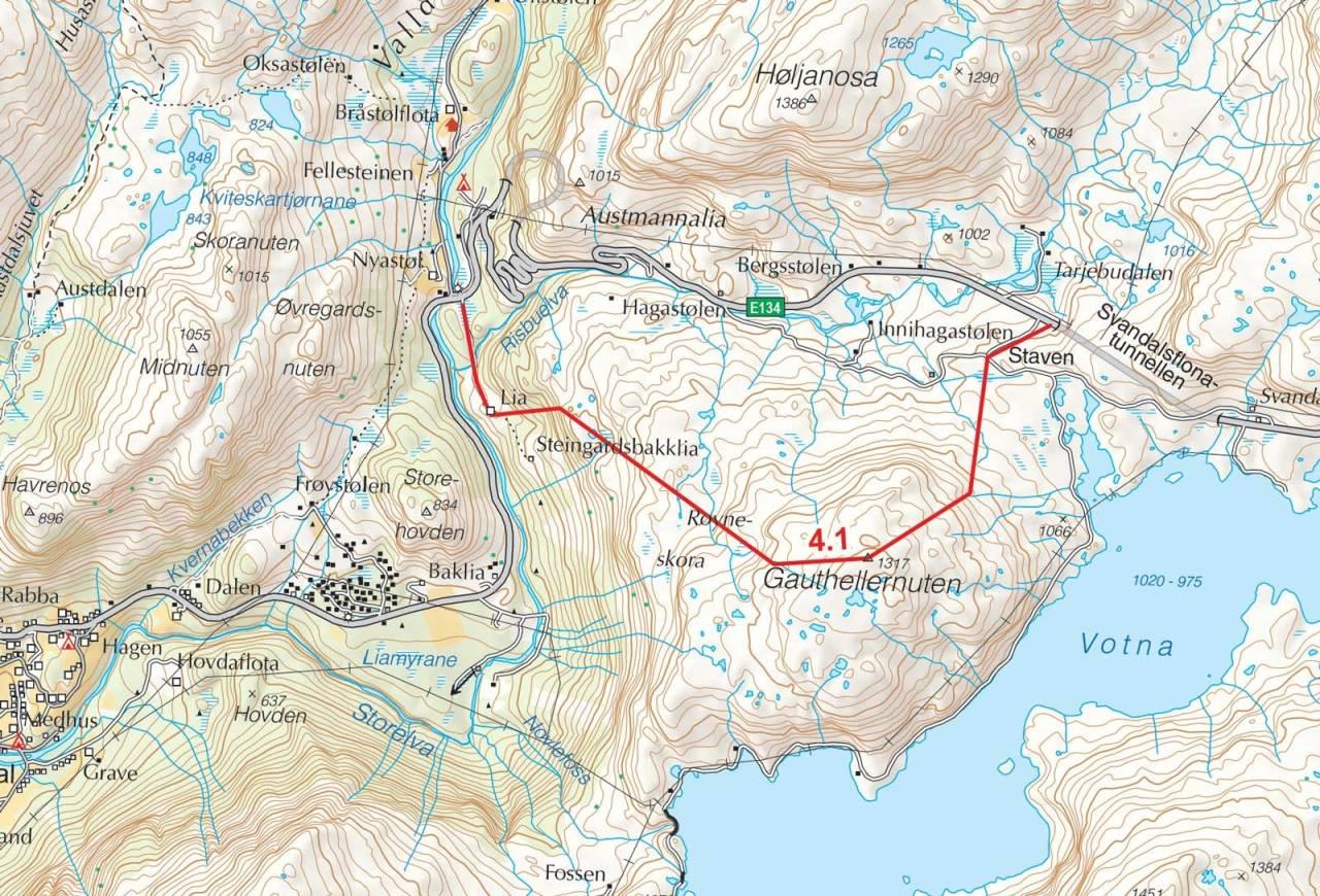 Kart over Gauthellernuten med inntegnet rute. Fra Toppturer i Sørvest