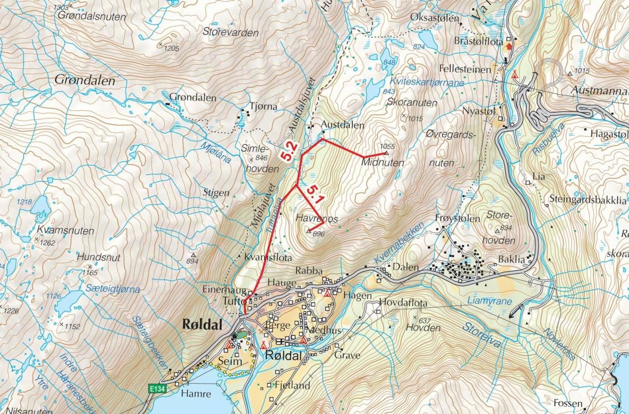 Kart over Havrenos og Midtnuten med inntegnet rute. Fra Toppturer i Sørvest.