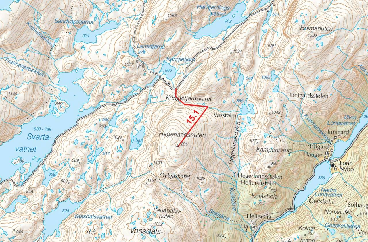 Kart over Hegerlandsnuten med inntegnet rute. Fra Toppturer i Sørvest.