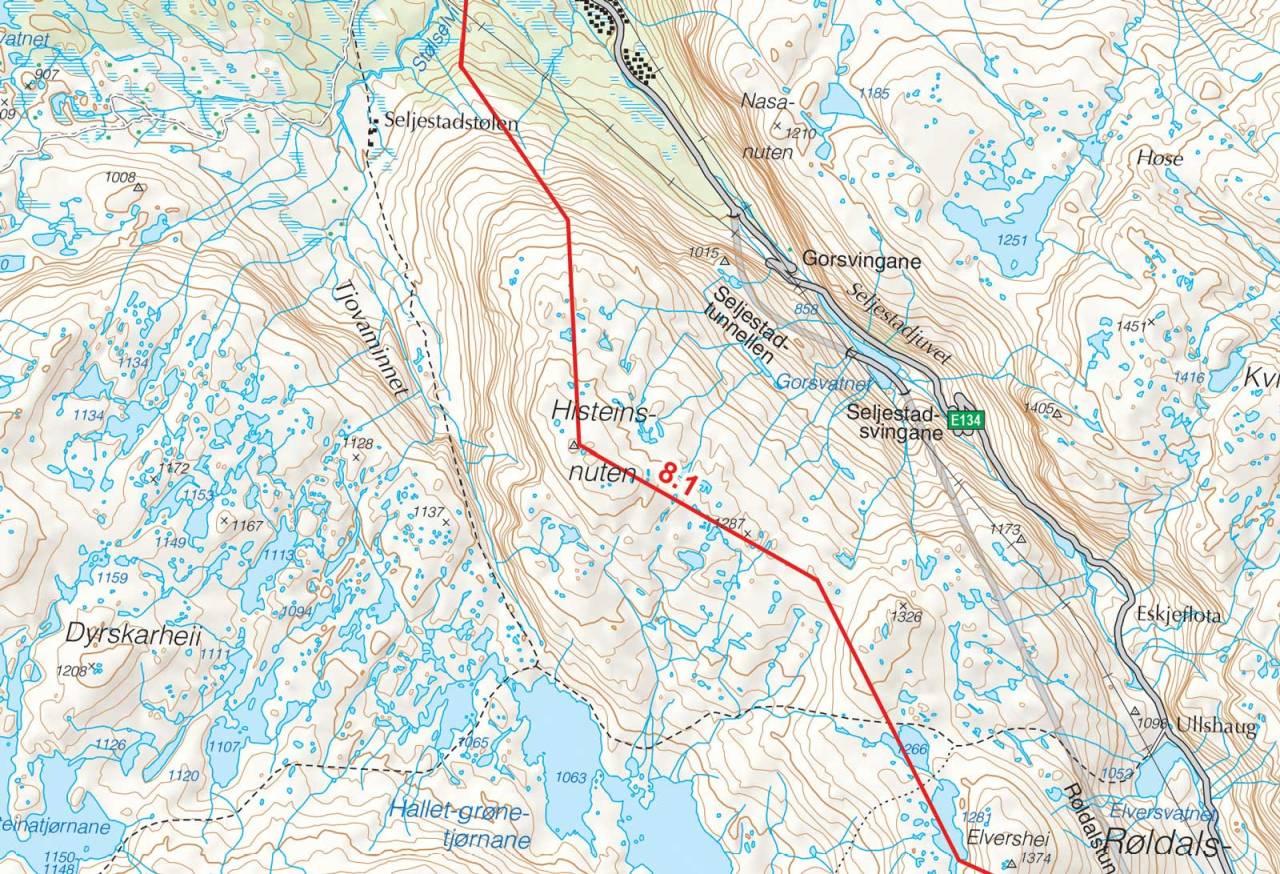 Kart over Histeinsnuten med inntegnet rute. Fra Toppturer i Sørvest.