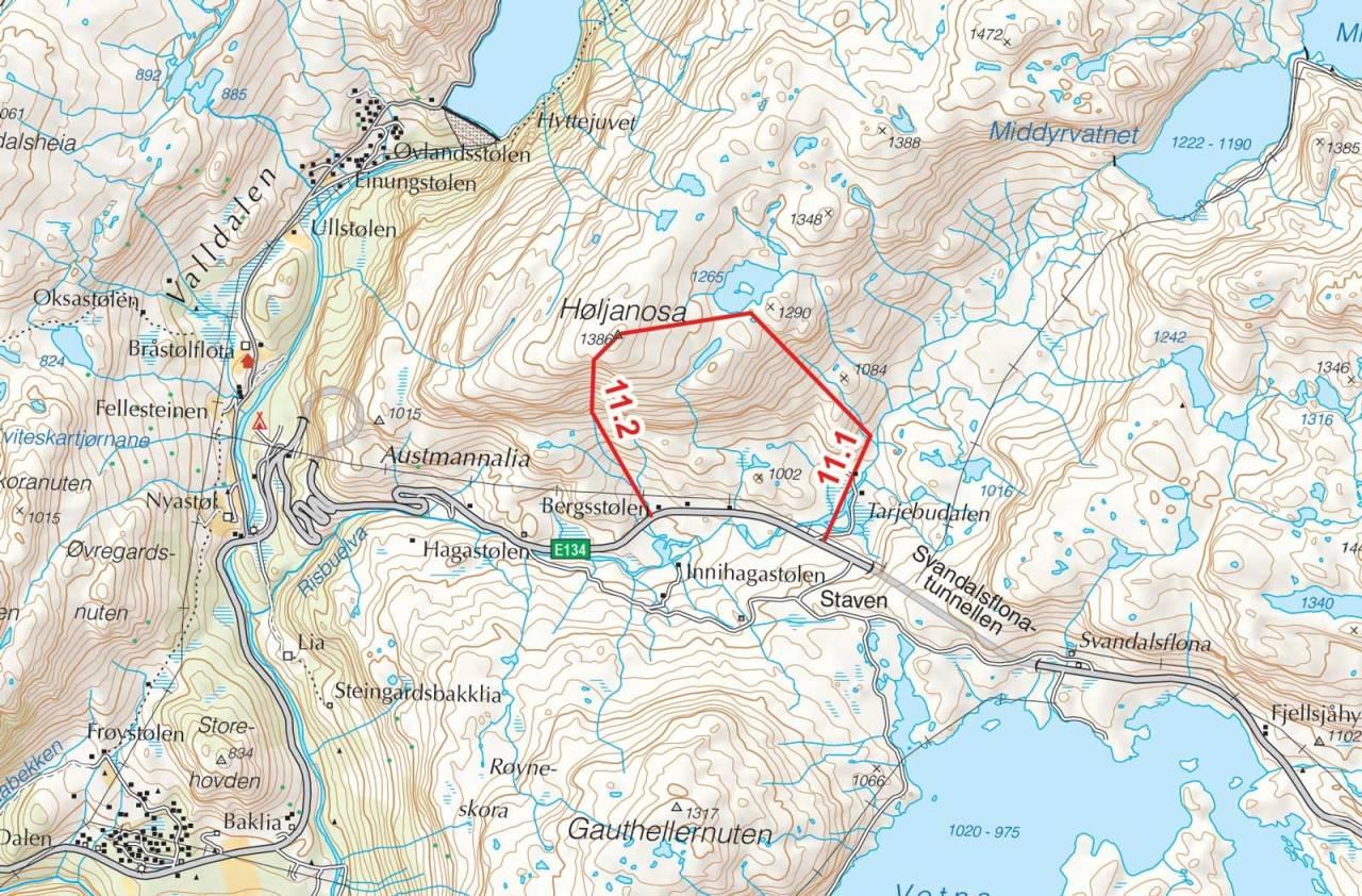 Kart over Høljanosa med inntegnet rute. Fra Toppturer i Sørvest.