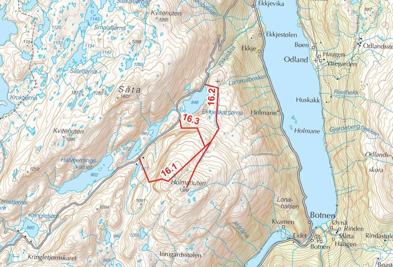 Kart over Holmansnuten med inntegnet rute. Fra Toppturer i Sørvest.