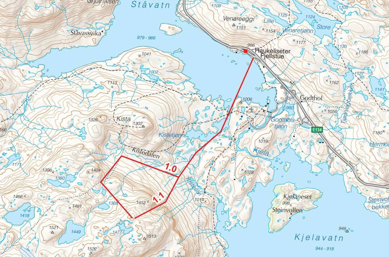 Kart over Kistenuten med inntegnet rute. Fra Toppturer i Sørvest.