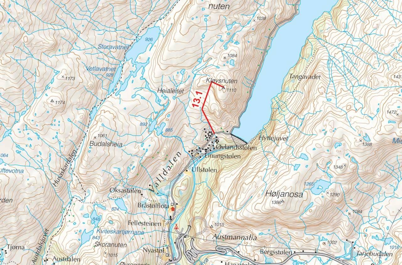 Kart over Kløvsnuten med inntegnet rute. Fra Toppturer i Sørvest.