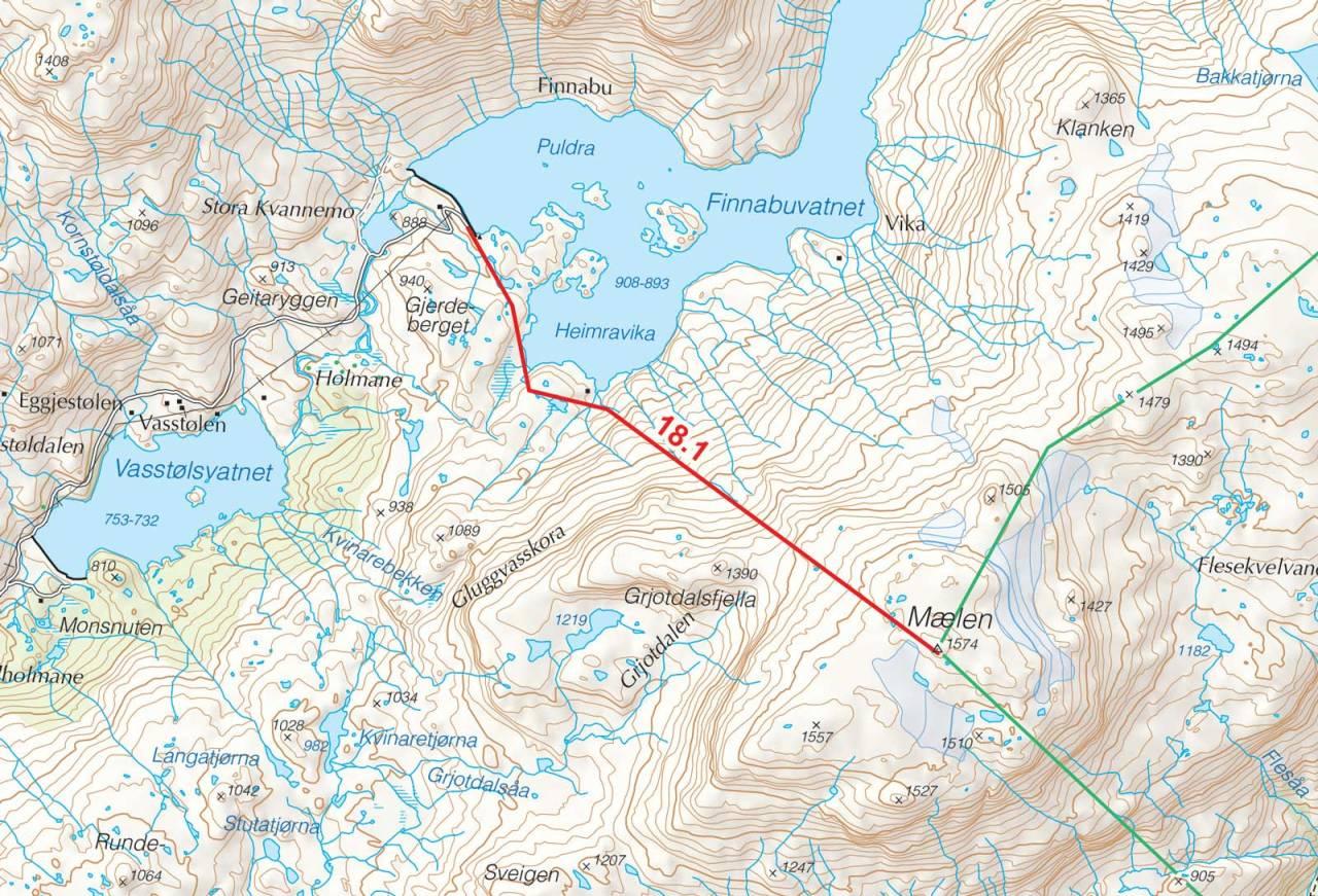 Kart over Mælen med inntegnet rute. Fra Toppturer i Sørvest.