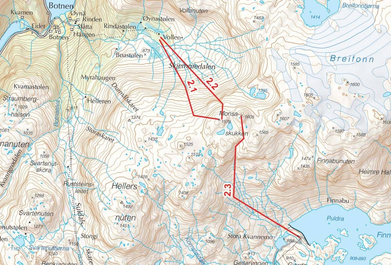 Kart over Monsaskukken med inntegnet rute. Fra Toppturer i Sørvest.