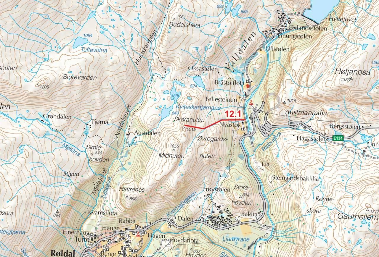 Kart over Skoranuten med inntegnet rute. Fra Toppturer i Sørvest.